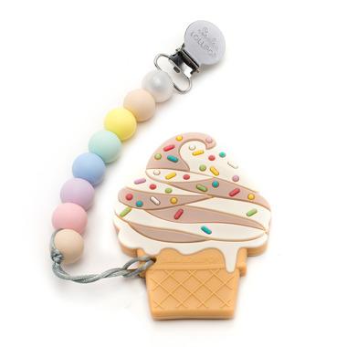 LouLou Lollipop, gryzak silikonowy z zawieszką Ice Cream  chocolate