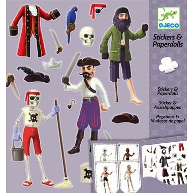 Djeco, zestaw kreatywny z naklejkami PIRACI