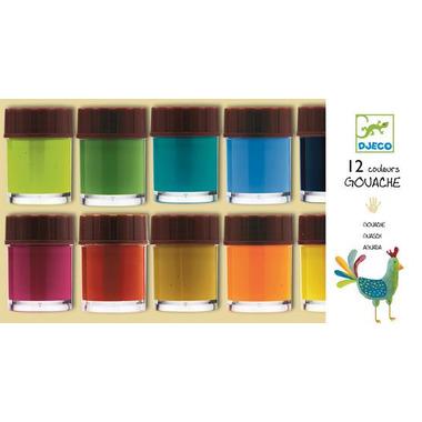 Djeco, zest farb 12 kolor plakatowych
