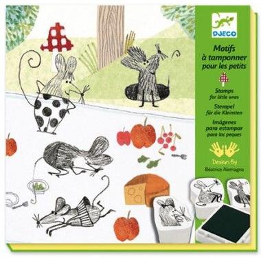 Djeco, zestaw artystyczny ze stempli myszki