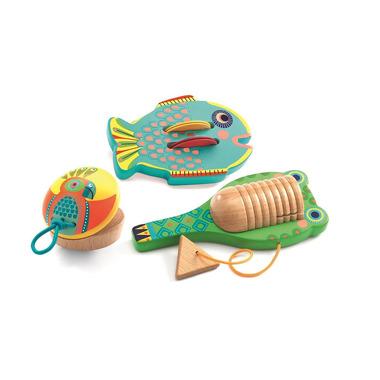 Djeco, Zestaw 3 instrumentów cymbałki-kastatniet-guiro