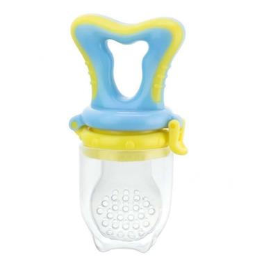 Gryzak silikonowy do podawania pokarmu niebiesko-żółty