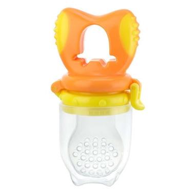 Gryzak silikonowy do podawania pokarmu żółto-pomarańczowy