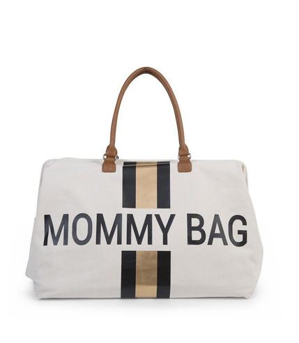 Childhome, Torba Mommy Bag beżowa  paski czarno-złote
