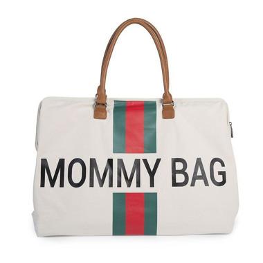 Childhome, Torba Mommy Bag beżowa paski zielono-czerwone