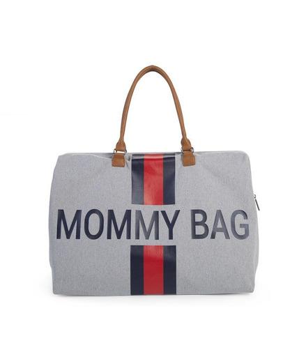 Childhome, Torba Mommy Bag  szara paski granatowo-czerwone