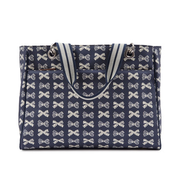 Torba Pink Lining Bramley Tote Cream Bows on Navy
