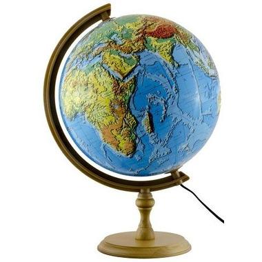 Globus 320 fizyczny 3d podświetalny drewniana stopka