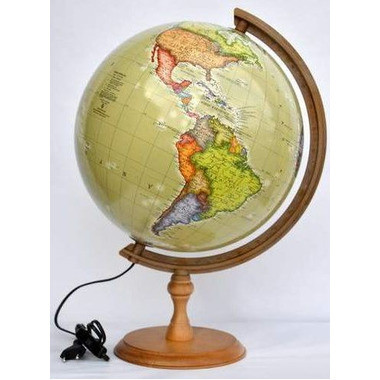 Globus 320 polityczny podświetlany drewniana stopka