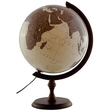 Globus 320 antyczny podświetlany drewniana stopka
