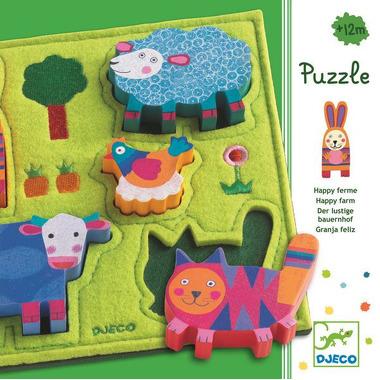 Djeco, puzzle wesoła farma filcowo drewniane