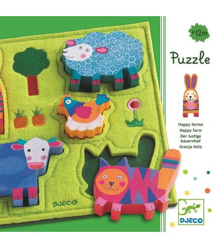 Puzzle wesoła farma filcowo drewniane