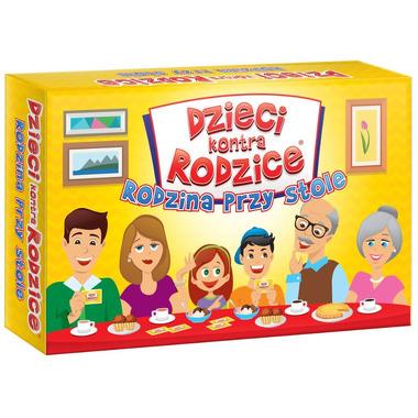 Gra rodzina przy stole dzieci kontra rodzice