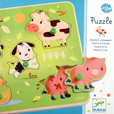 Djeco, puzzle z uchwytami farma