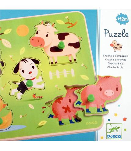 Puzzle z uchwytami farma Djeco