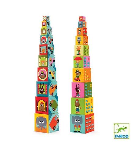 Piramida 10 kostek pojazdy  Djeco