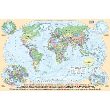 Podkładka na biurko dwustronna mapa świat fizyczno-administracyjna eko