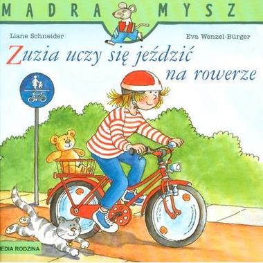 Zuzia uczy się jeździć na rowerze mądra mysz