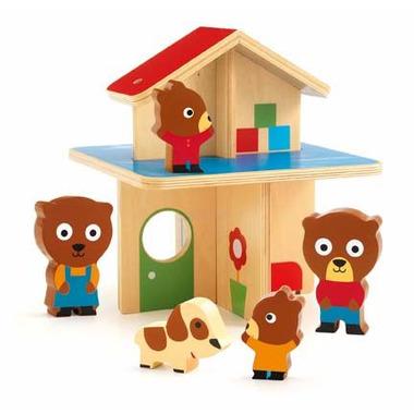 Djeco, drewniany domek z rodziną misiów