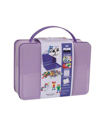 Plus-Plus, metalowa walizka Mini 600 (500Pastel+100Neon+płytka+książeczka)