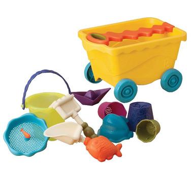 Btoys, wózek-wagonik z wygodną rączką, wypełniony akcesoriami do zabawy w piasku