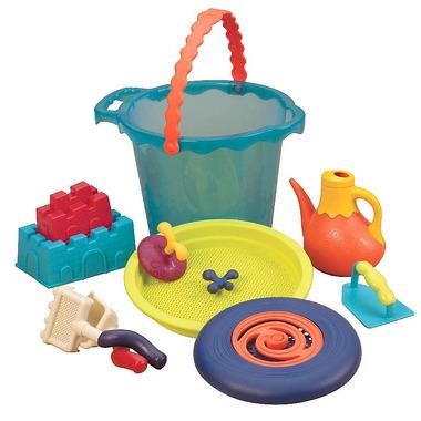 Btoys, dUŻE wiaderko z akcesoriami do zabawy w piasku  - z konewką i dyskiem FRISBEE