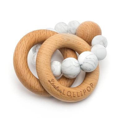 LouLou Lollipop, Gryzak silikonowo-drewniany - Bubble MARBLE