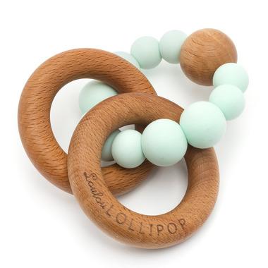 LouLou Lollipop, Gryzak Drewniany z Koralikami Trinity Baby Blue
