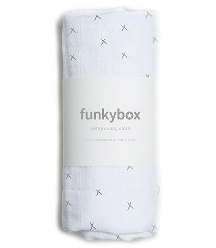 Funkybox, Pieluszka Bawełniana 70x70 Dark Grey Wonderful