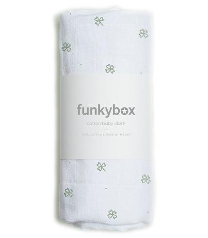 Funkybox, Pieluszka Bawełniana 70x70 Olive Lucky Clover
