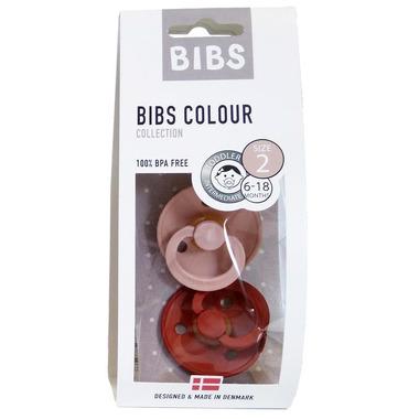 Bibs, 2-PACK M Blush & Rust Dynamiczny Smoczek Uspokajający Hevea
