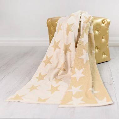 Bizzi Growin, Gold Stars Blanket kocyk tkany Złote Gwiazdy