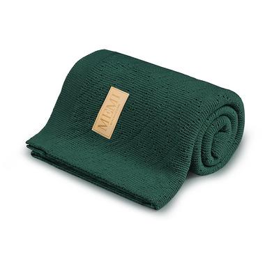 Memi, Ciepły podwójnie tkany kocyk bawełniany 80x100 bottle green
