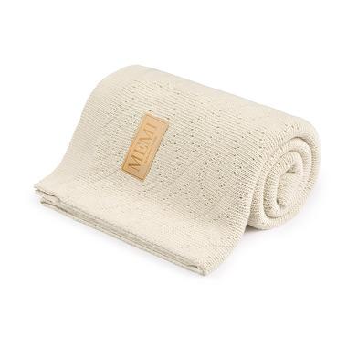 Memi, Ciepły podwójnie tkany kocyk bawełniany 80x100 ecru