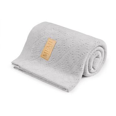 Memi, Ciepły podwójnie tkany kocyk bawełniany 80x100 light grey