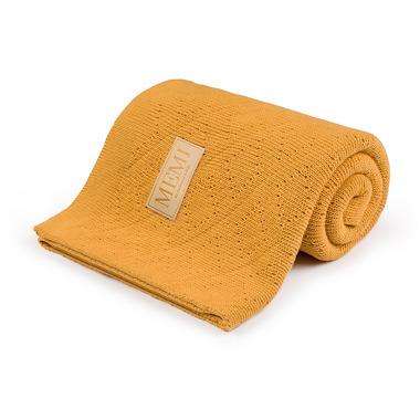 Memi, Ciepły podwójnie tkany kocyk bawełniany 80x100 mustard