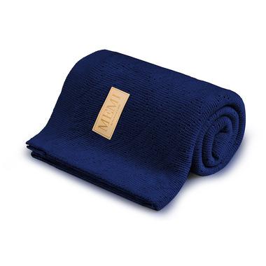 Memi, Ciepły podwójnie tkany kocyk bawełniany 80x100 navy blue