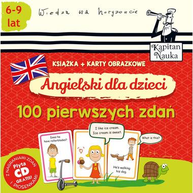Angielski dla dzieci 100 pierwszych zdań książka + karty obrazkowe kapitan nauka