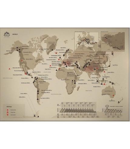 Mapa zdrapka szczytów górskich świat