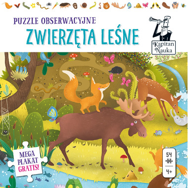 Puzzle obserwacyjne zwierzęta leśne i plakat xxl Kapitan Nauka