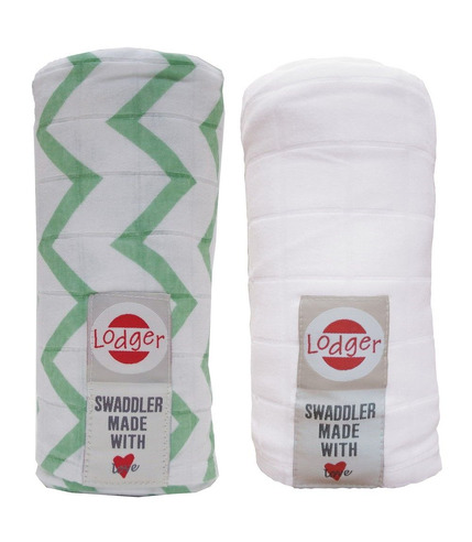 Pieluszki otulacz  2-pack Anise/White Lodger