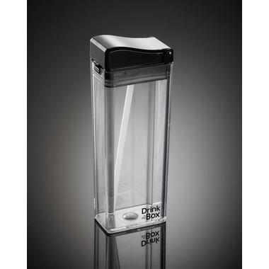 Drink In The Box, Unique Bidon ze słomką black clear 350ml