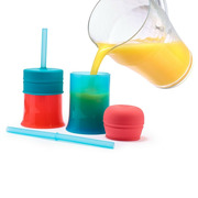 Boon, Snug Zestaw 6 silikonowych słomek i czyścik