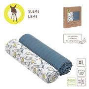 Lassig, Bambusowy Otulacz-Kocyk 120x120cm Zestaw 2 szt. Glama Lama blue