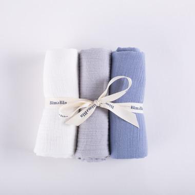 Bimbla, Zestaw trzech pieluszek muślinowych - niebieski