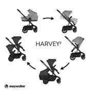 Easywalker, Harvey² Wózek głęboko-spacerowy Night Black (zawiera stelaż, siedzisko z budką i pałąkiem)