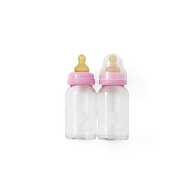 Hevea, 2 szklane butelki 120 ml ze smoczkami kauczukowymi, różowe