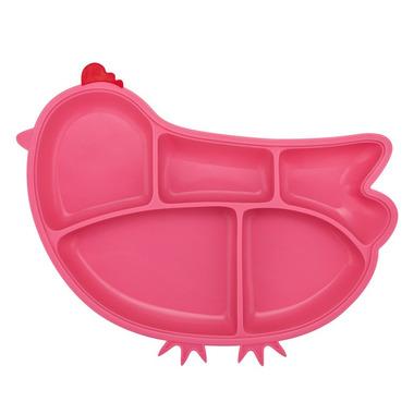 InnoBaby, Silikonowy talerzyk z przegródkami i przyssawkami różowa kurka