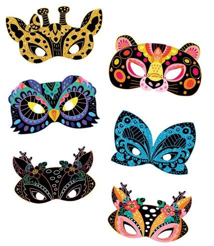 Janod, Zestaw artystyczny Do zdrapywania Maski zwierząt