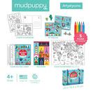 Mudpuppy, Zestaw kreatywny Naklejki, Malowanki, Łamigłówki z 5 kredkami Nasz świat 4+